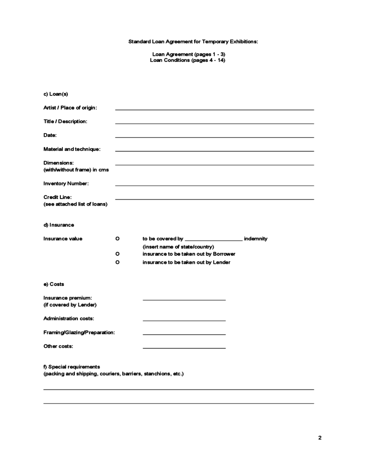 Standard Loan Agreement for Temporary Exhibitions Free Download – Standard Loan Agreement Template Free