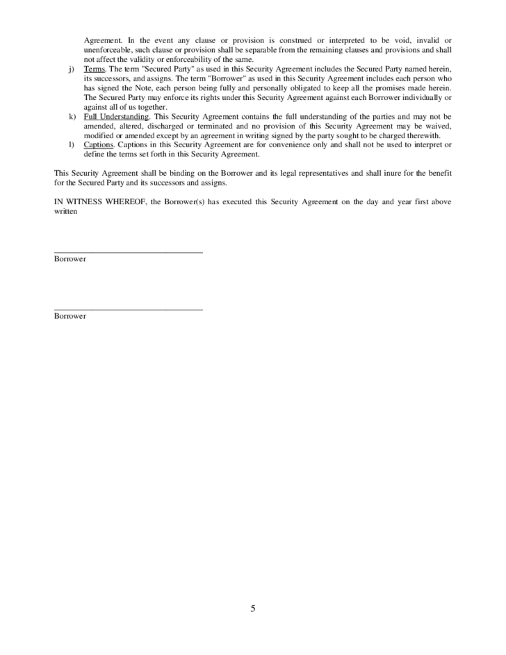 5 Sample Co Operative Apartment Loan Security Agreement
