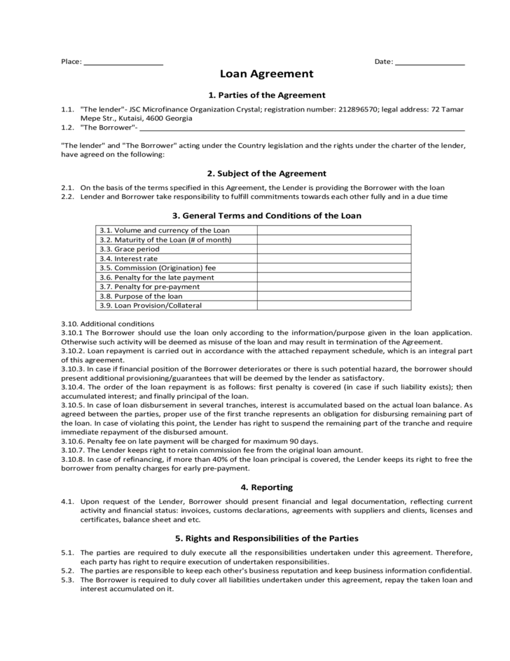 1 Loan Agreement Sample Form