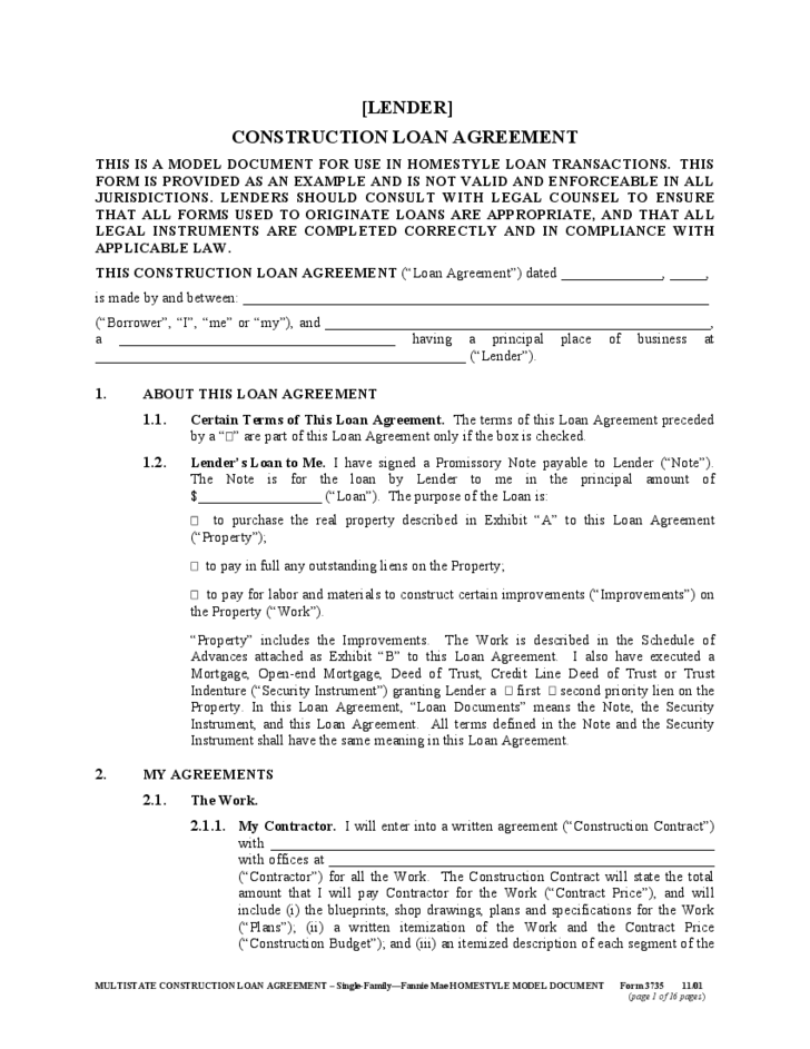Multistate Construction Loan Agreement Form Free Download