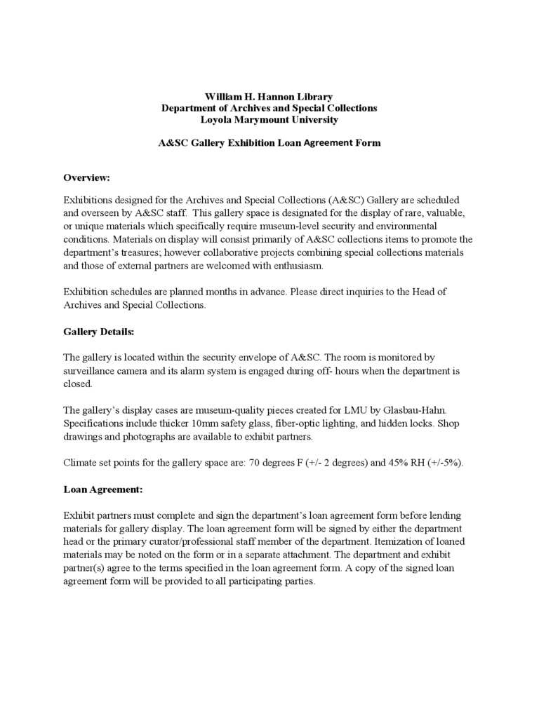Sample Exhibit Loan Agreement Form