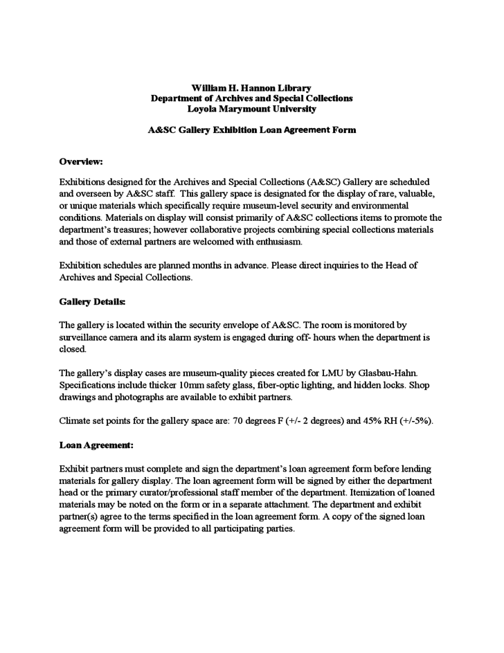 1 Sample Exhibit Loan Agreement Form