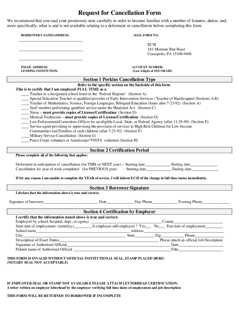 loan cancellation form