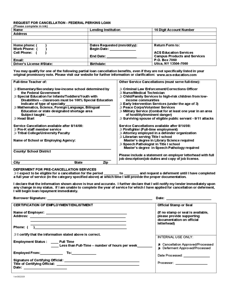 Request for Cancellation - Federal Perkins Loan
