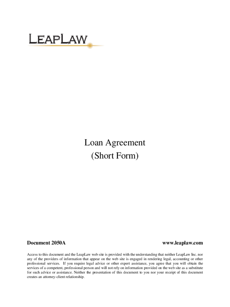 Standard Loan Agreement Form