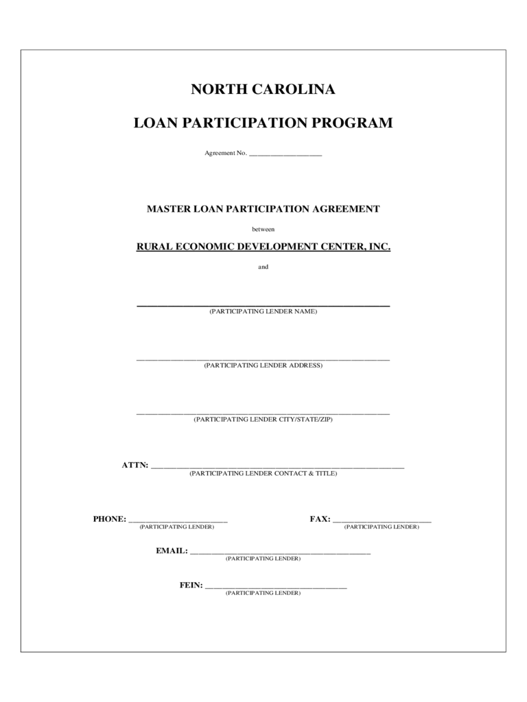 loan participation agreement form