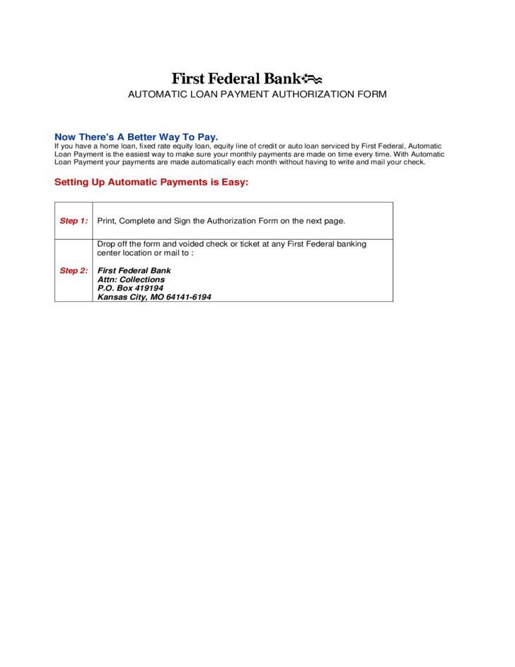 automatic loan payment authorization form free download
