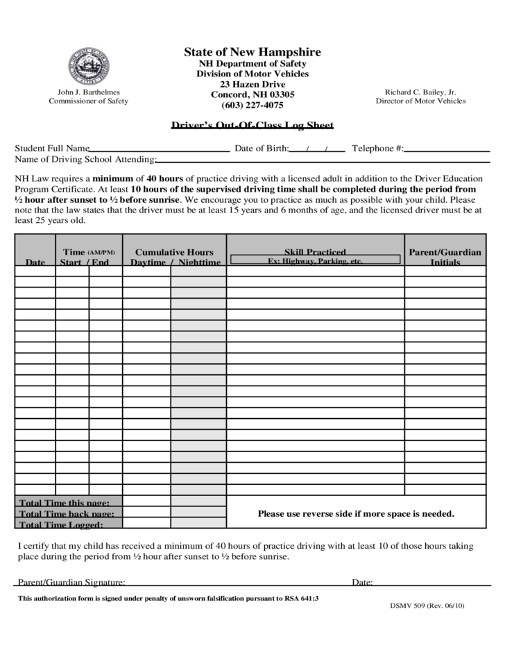 Driver 39 s out of class log sheet new hampshire free download for Department of motor vehicles concord new hampshire