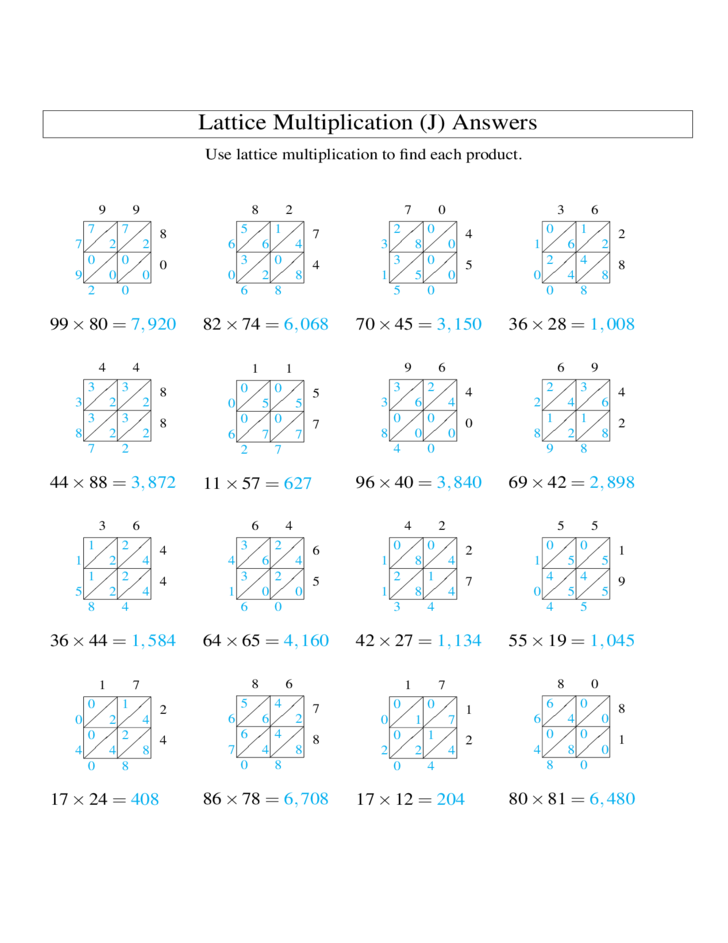 math worksheet : 2 digit × 2 digit lattice multiplication all free download : Lattice Multiplication Worksheets