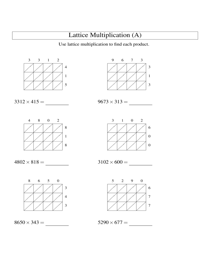 math worksheet : lattice multiplication worksheet pdf  lattice multiplication  : Lattice Multiplication With Decimals Worksheets