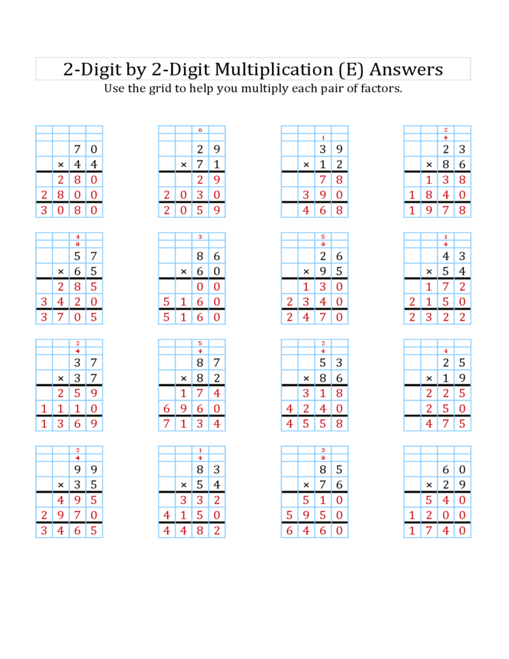 Digit By 2 Digit Multiplication Worksheets With Grids