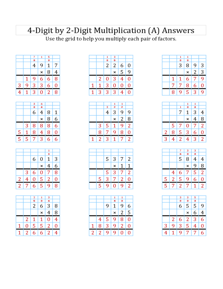 4 digit by 2 digit multiplication worksheets pdf