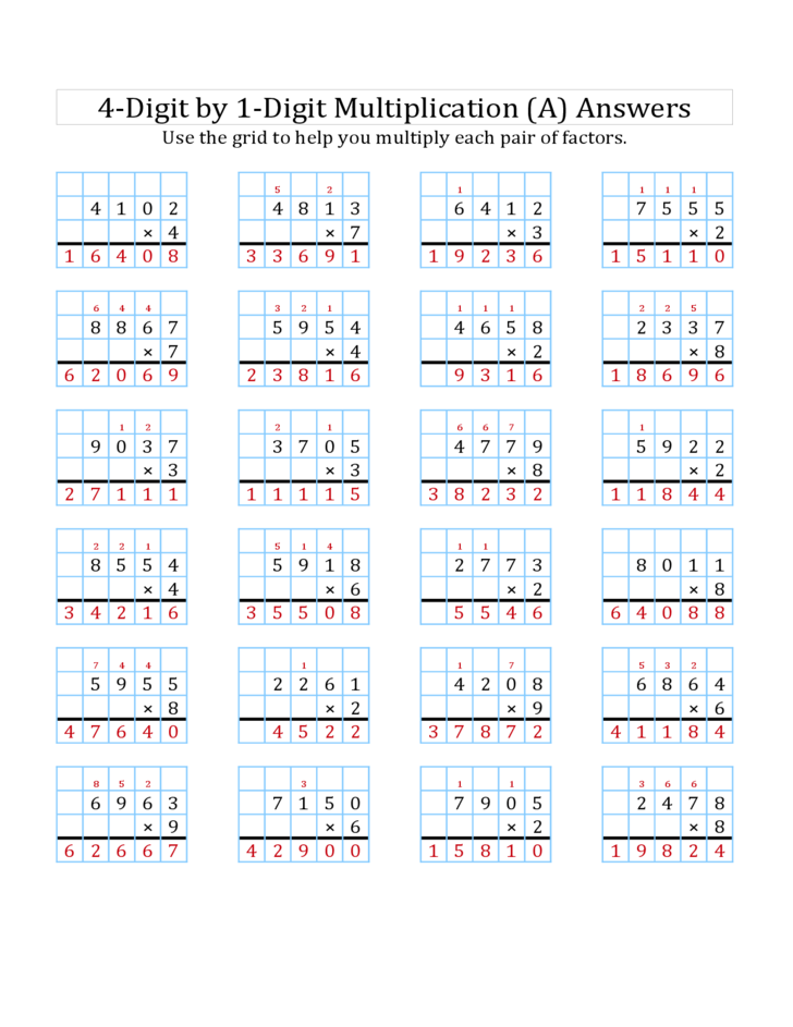 math worksheet : 4 digit × 1 digit multiplication with a grid a free download : 4 Digit By 1 Digit Multiplication Worksheets