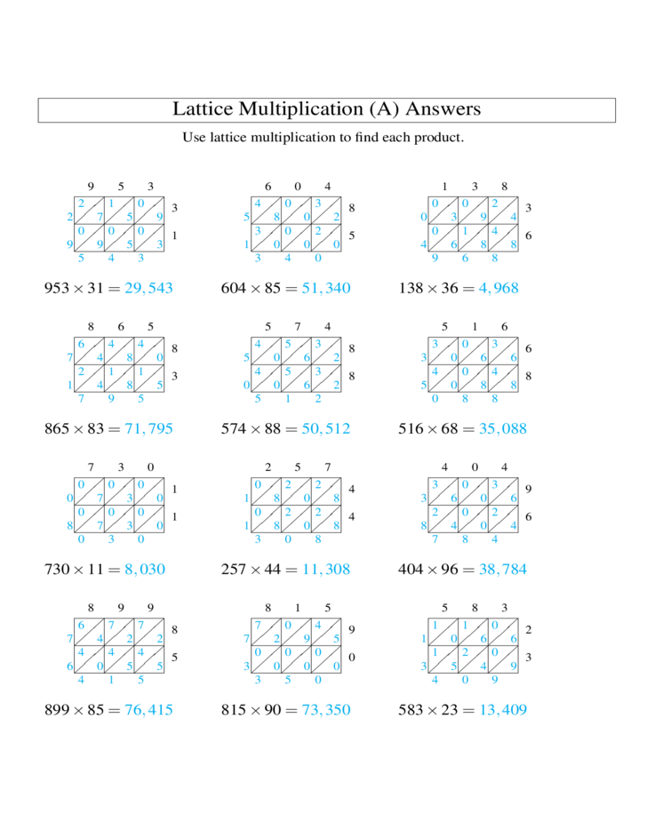 math worksheet : 3 digit × 2 digit lattice multiplication a free download : Lattice Math Worksheets