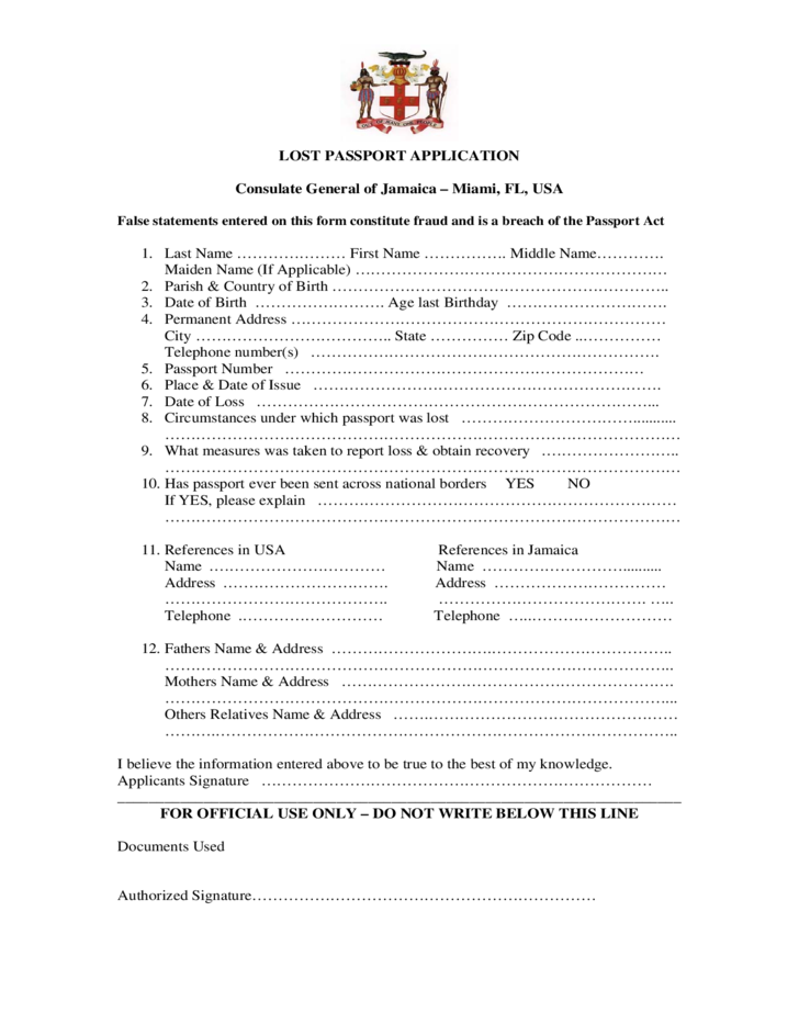 Lost Passport Application Consulate General Of Jamaica Free Download