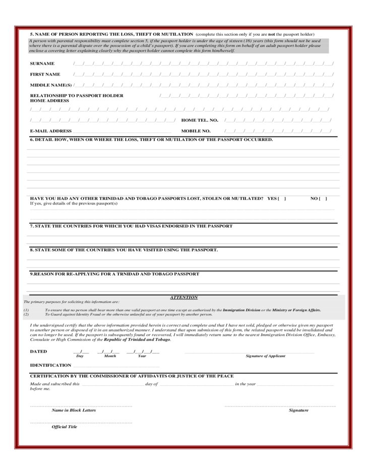 Doc500270 Lost Passport Form DS64 Application for Lost or – Lost Passport Form