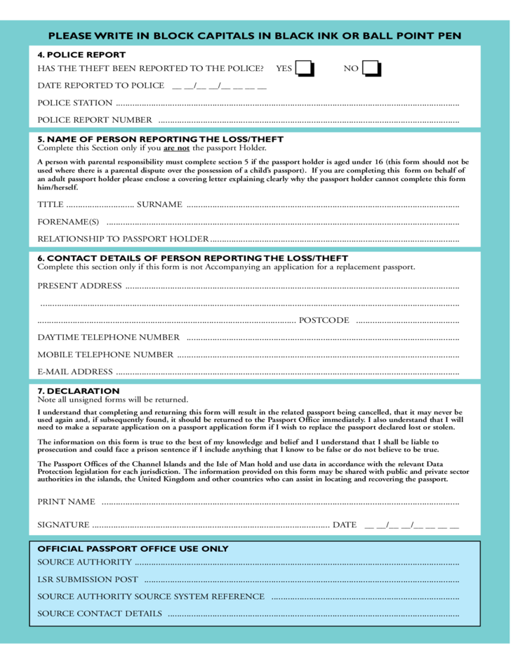 Official Passport Application Form Choice Image Free Form Design