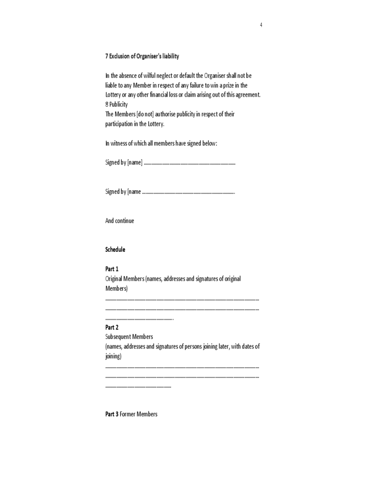 Formal Lottery Syndicate Agreement Free Download