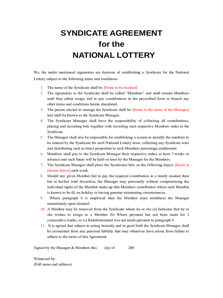 Syndicate Agreement for the National Lottery Free Download