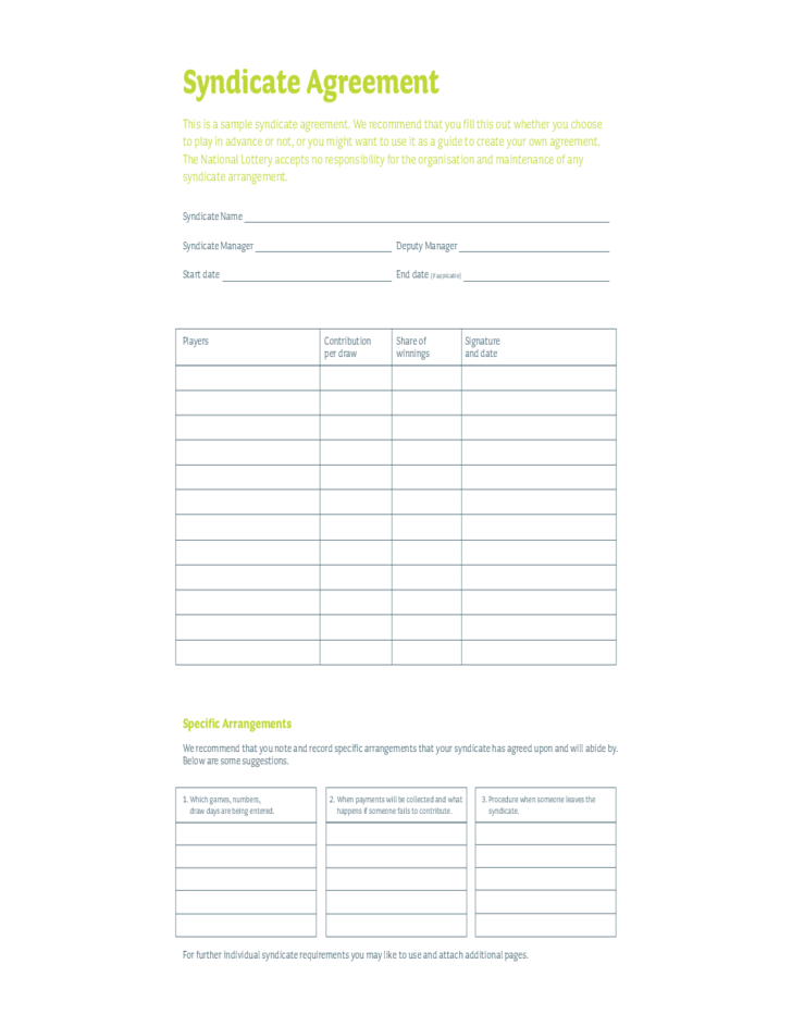 lottery syndicate agreement template word editable lottery syndicate form free download