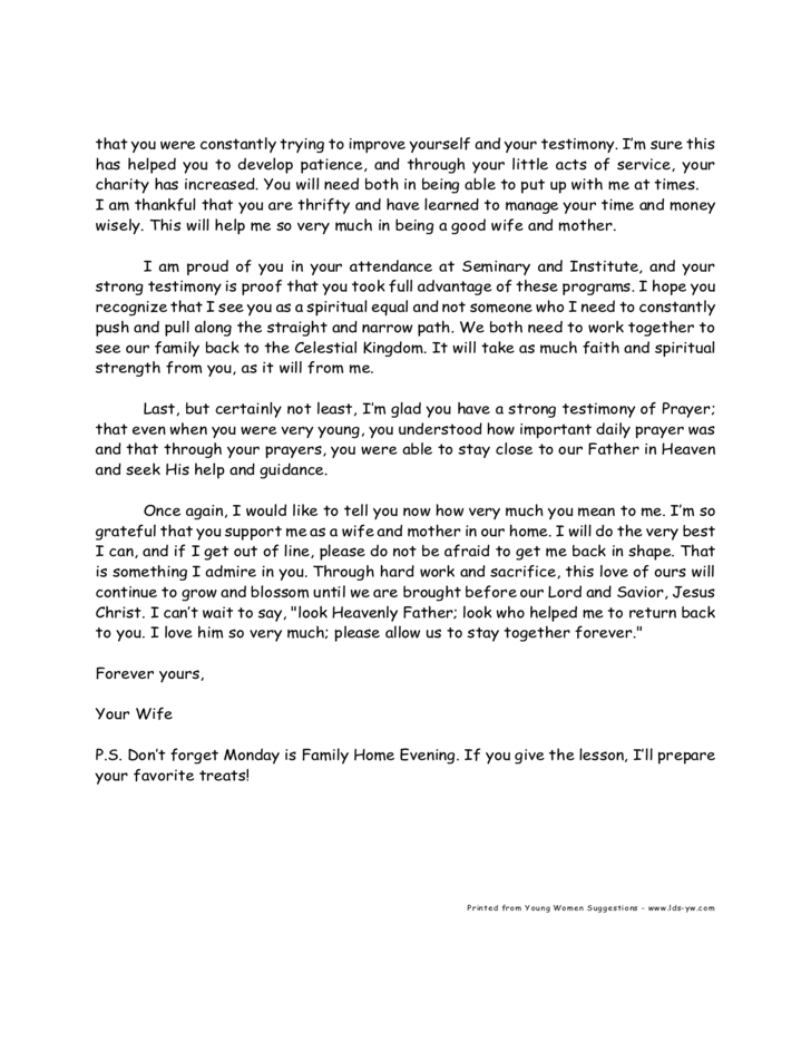 Sample Love Letter to Husband