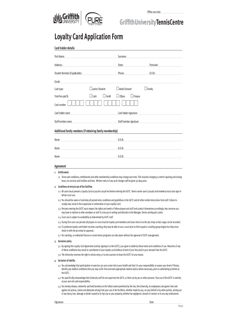 Loyalty Card Application Form - Griffith University