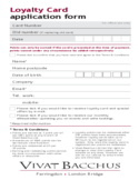 Loyalty Card Application Form - London Free Download