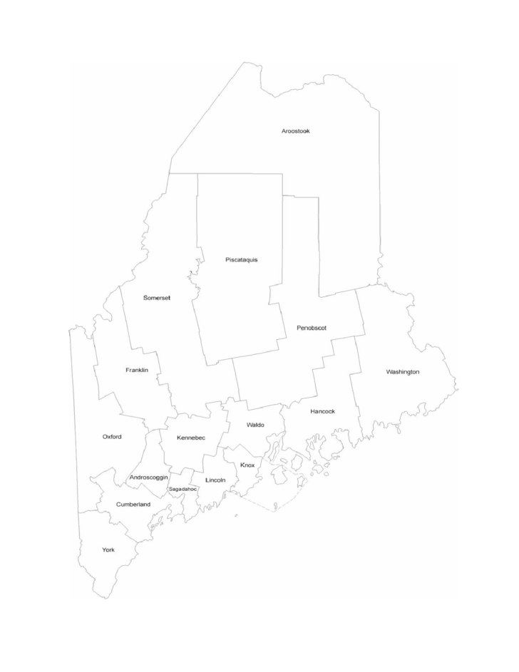 Maine County Map with County Names