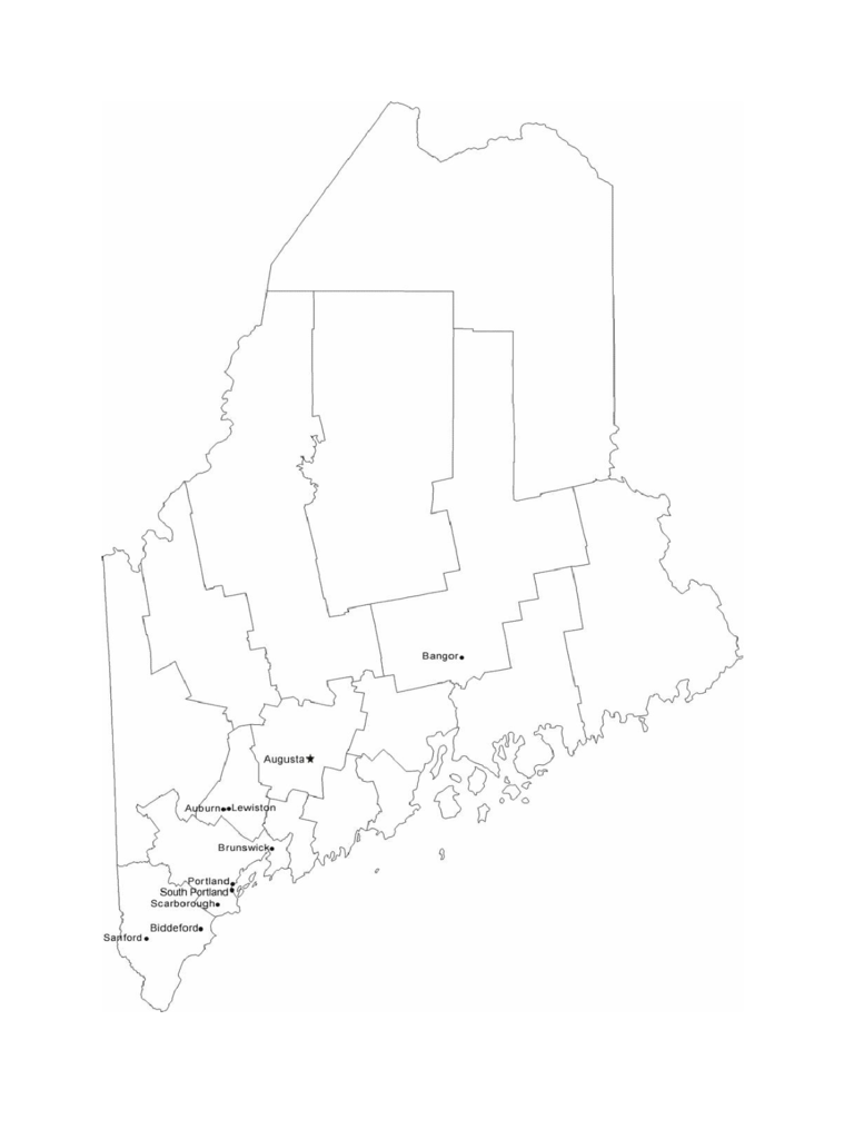 Map of Maine Cities with City Names