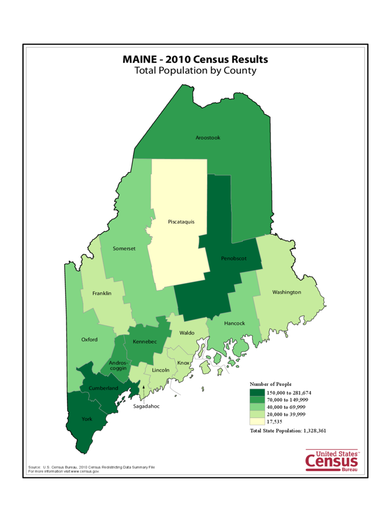 Maine County Population Map