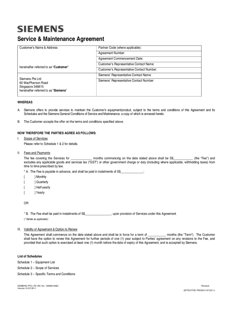 Maintenance Contract Templates