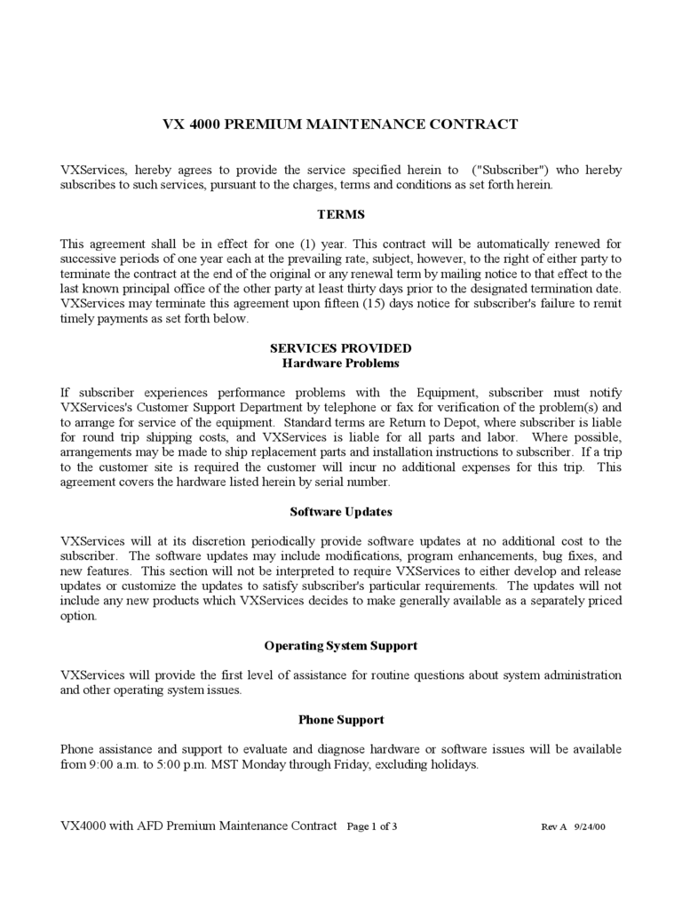 maintenance contract template 4 free templates in pdf word. Resume Example. Resume CV Cover Letter