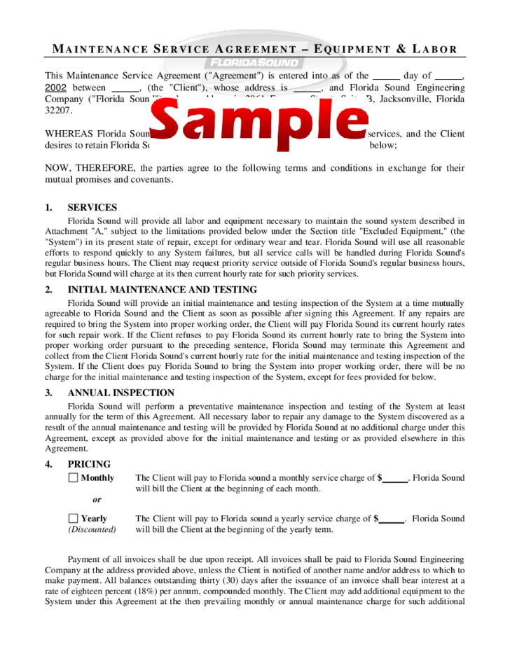 handyman contract sample - Maintenance Service Contract Sample