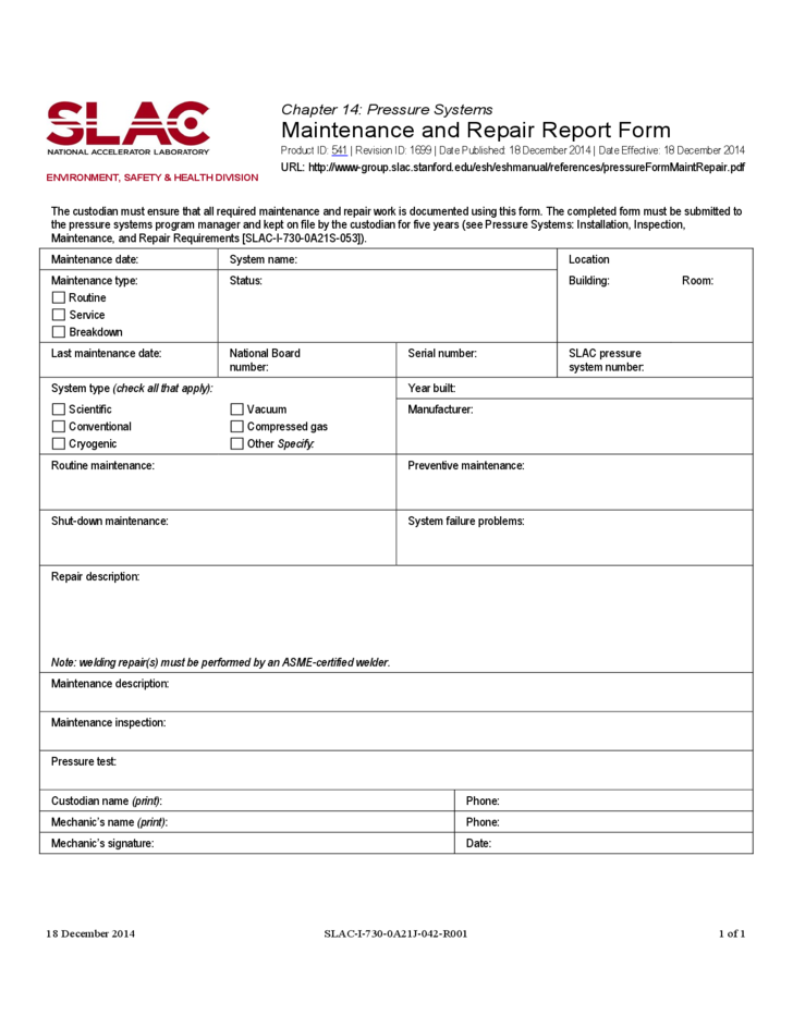 Maintenance Report Form Stanford Free Download
