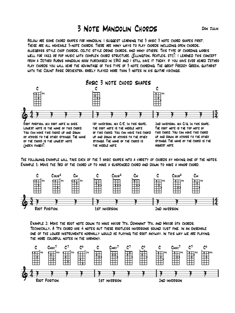 Sample Mandolin Chords