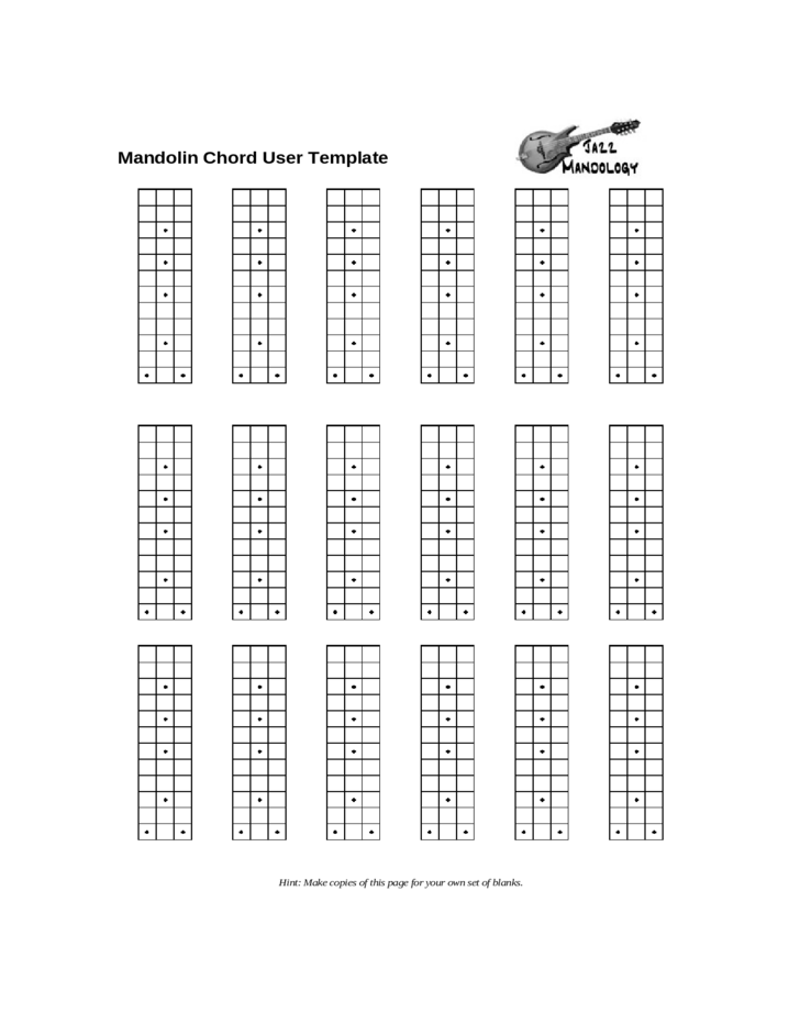 picture about Printable Mandolin Chord Chart named Mandolin Chord Person Template Chart Free of charge Down load