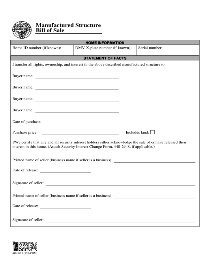 1 Manufactured Home Bill Of Sale Form   Oregon  Bill Of Sale For Land