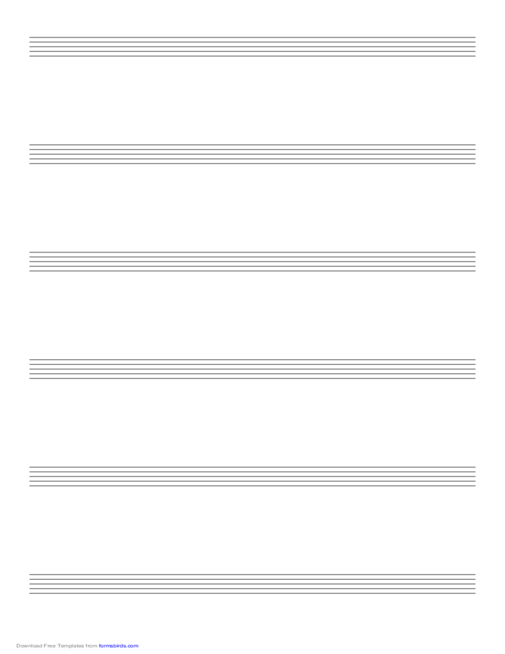 Music Paper with Six Staves on Legal-Sized Paper in Portrait Orientation