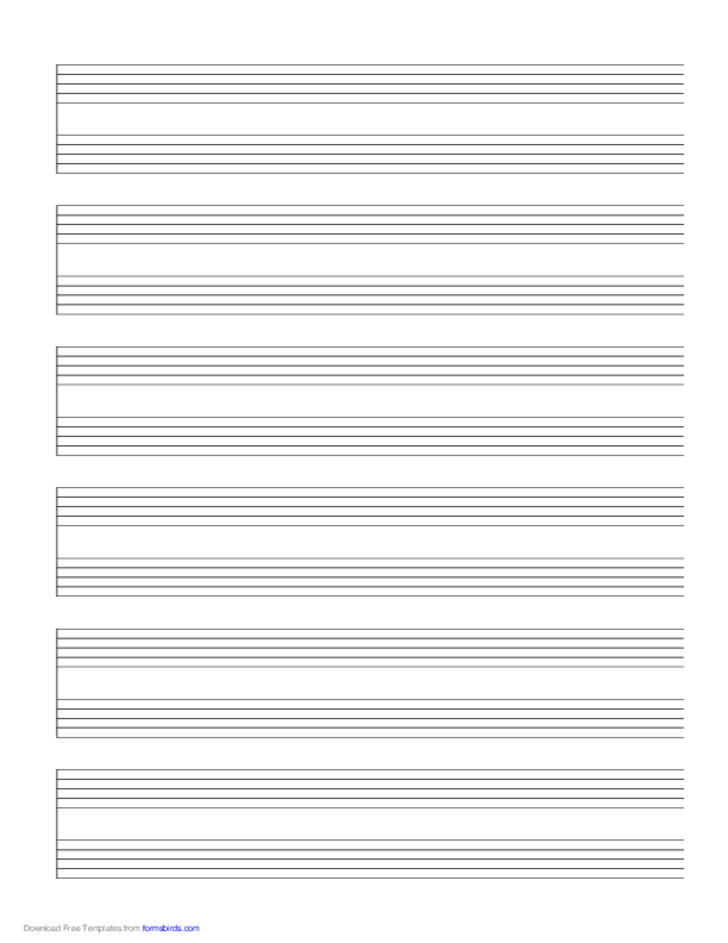 6 Systems of 2 Staves Music Paper