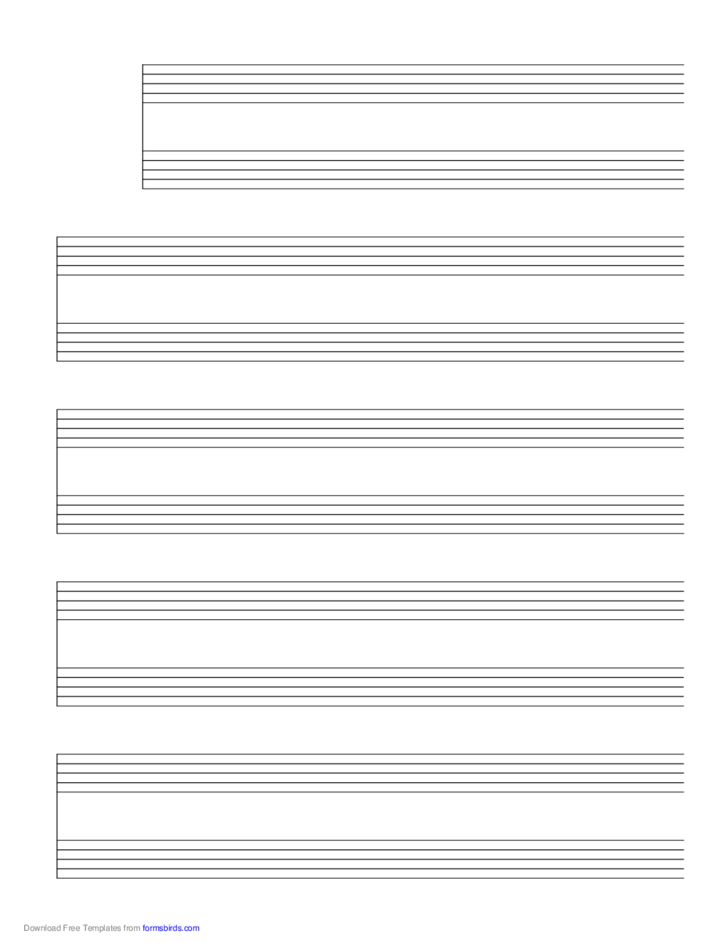 5 Systems of 2 Staves Music Paper