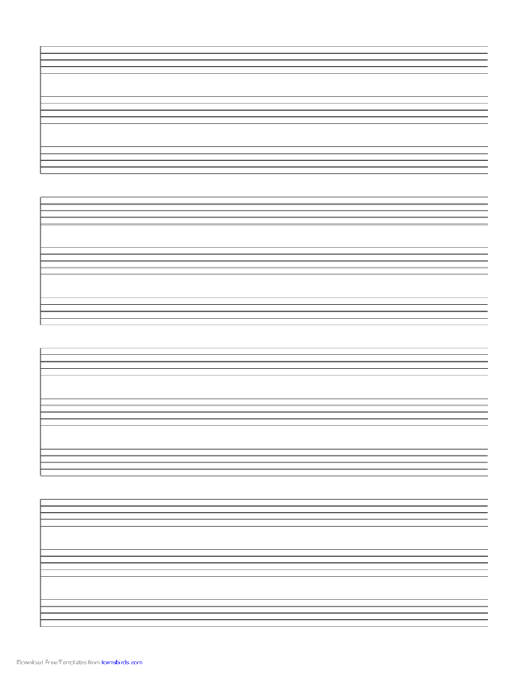 4 Systems of 3 Staves Music Paper