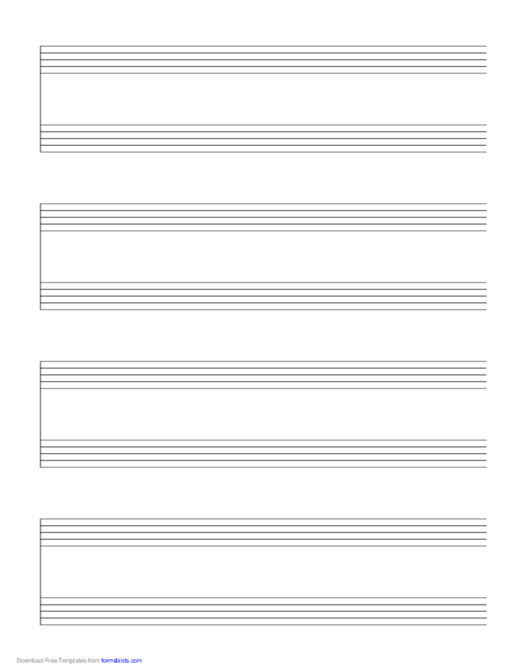 4 Systems of 2 Staves Music Paper
