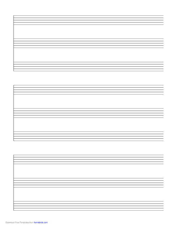 3 Systems of 3 Staves Music Paper