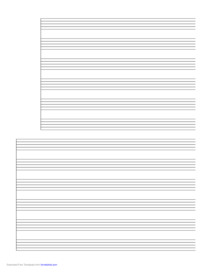 2 Systems of 6 Staves Music Paper