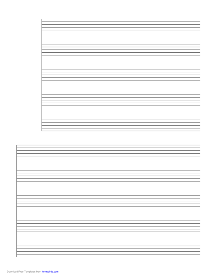 2 Systems of 5 Staves Music Paper
