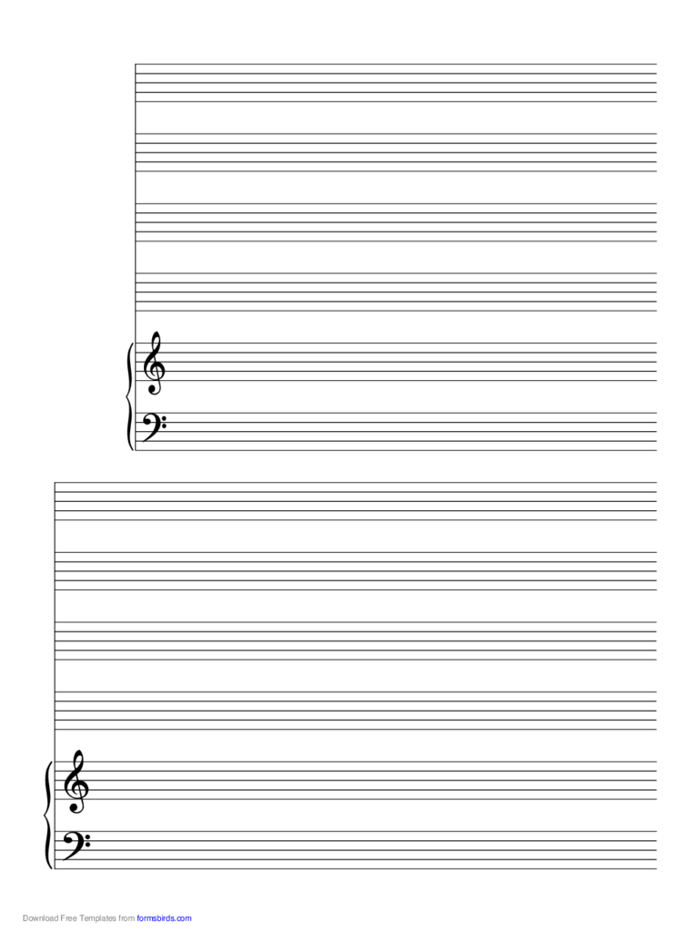 2 Systems of 4 Staves and Piano Music Paper