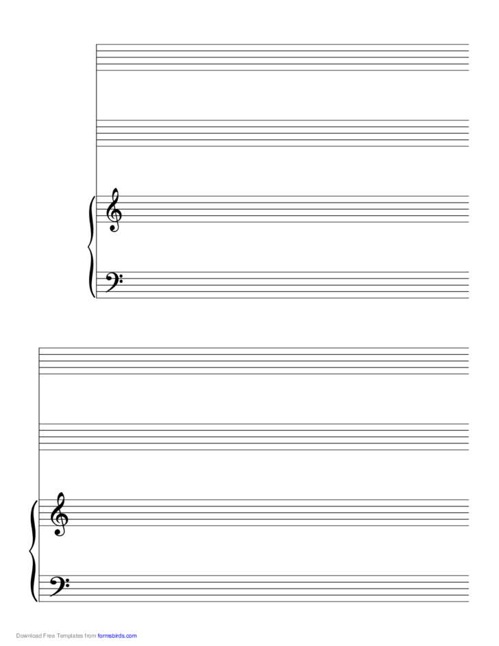2 Systems of 2 Staves and Piano Music Paper