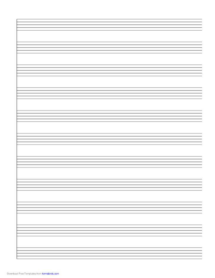 1 System of 11 Staves Music Paper