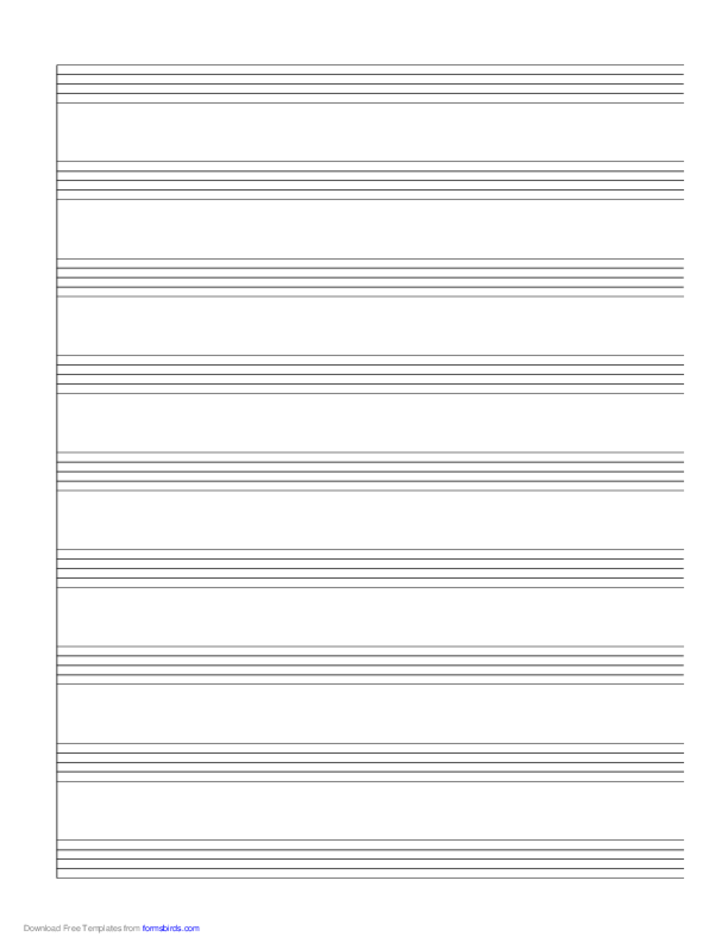 1 System of 9 Staves Music Paper
