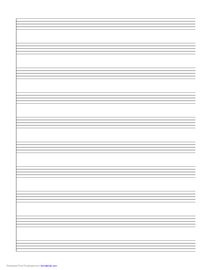 1 System of 10 Staves Music Paper